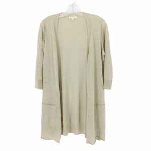 Eileen Fisher Linen Beige Long Cardigan Petite M